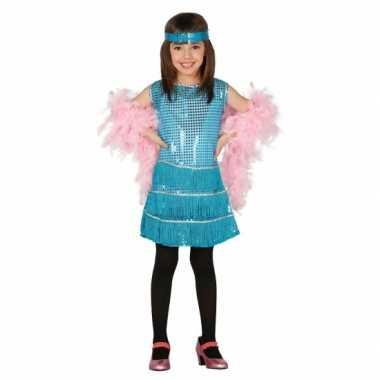 Blauwe pailletten carnavalskleding meisjes