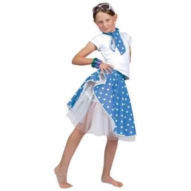 Blauwe rock n roll rokje stippen meisjes carnavalskleding