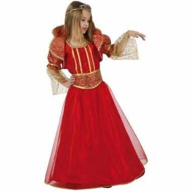 Carnavalskleding rood gouden details meisjes