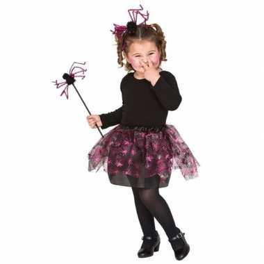 Carnavalskleding roze spin heksenset meisjes