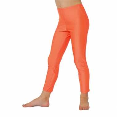 Fel oranje kinder legging carnavalskleding meisjes