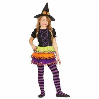 Gekleurd heksen carnavalskleding heksenhoed meisjes