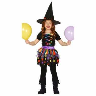 Gekleurd heksen carnavalskleding meisjes