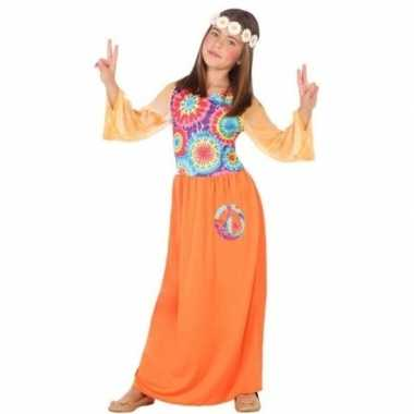 Goedkope hippie flower power verkleed carnavalskleding oranje meisjes