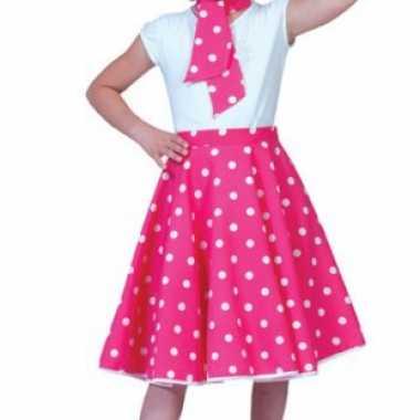 Grease rok roze stippen meisjes carnavalskleding