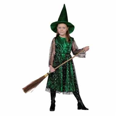 Groene kinder heksencarnavalskleding meisjes