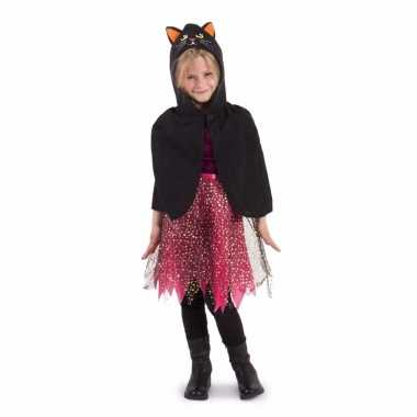 Halloween cape zwarte kat kind carnavalskleding meisjes