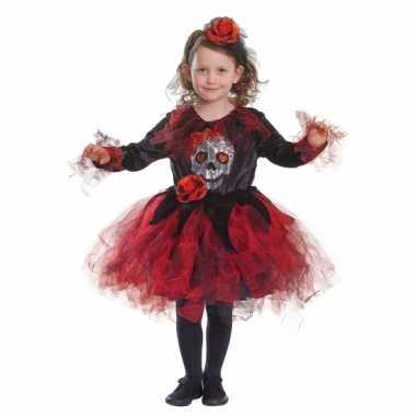 Halloween carnavalskleding doodshoofd rode tutu meisjes