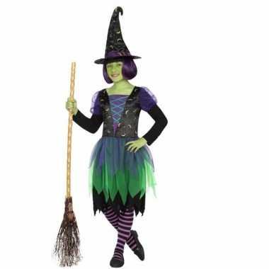 Halloween heksen carnavalskleding groen/zwart meisjes