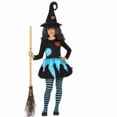 Halloween meisjes carnavalskleding blauw zwart