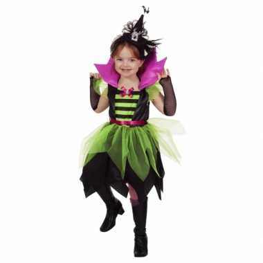 Heksen carnavalskleding groen/zwart meisjes