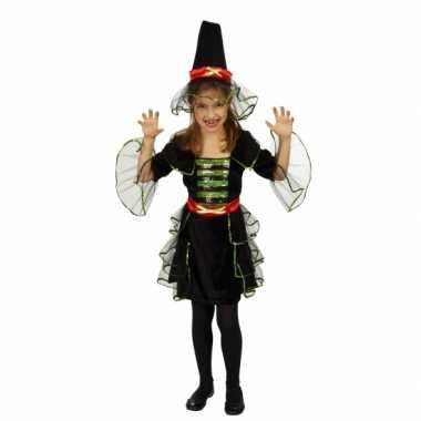 Heksen carnavalskleding zwart groen inclusief hoed meisjes