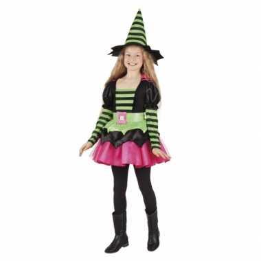 Heksen carnavalskledings groen/roze meisjes