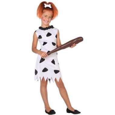 Holbewoonster wilma carnavalskleding meisjes wit/zwart