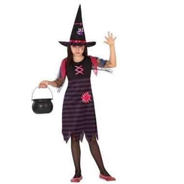 Horror heksen carnavalskleding paars/zwart meisjes