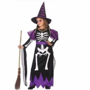 Horror heksen carnavalskleding zwart/paars meisjes