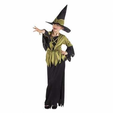 Kinder heksen carnavalskleding heksencarnavalskleding zwart/groen mei