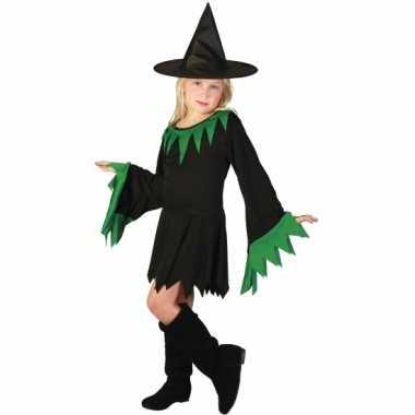 Korte zwarte heksencarnavalskleding meisjes