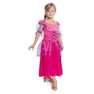 Lange fuchsia roze prinsessen carnavalskleding meisjes