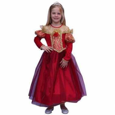 Lange rode prinsessen carnavalskleding meisjes
