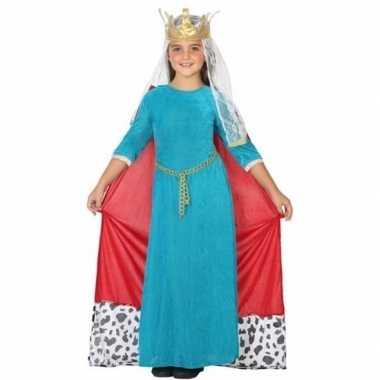 Middeleeuwse koningin carnavalskleding meisjes