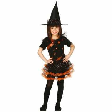 Oranje kinder heksencarnavalskleding sterren meisjes