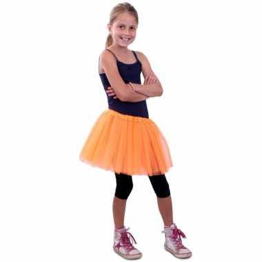 Oranje meisjes verkleed rokje carnavalskleding