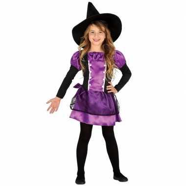 Paars heksen carnavalskleding heksenhoed meisjes