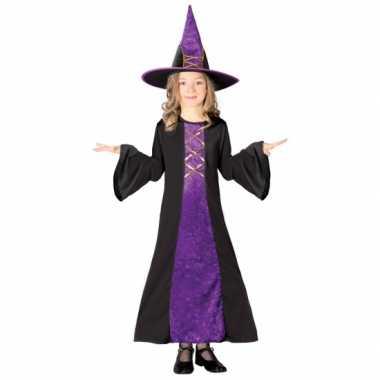 Paarse kinder heksencarnavalskleding meisjes