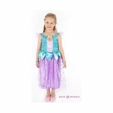 Prinsessen carnavalskleding elette blauw/paars meisjes