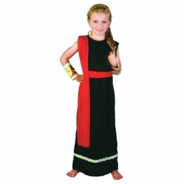 Romeins gewaad zwart rood meisjes carnavalskleding