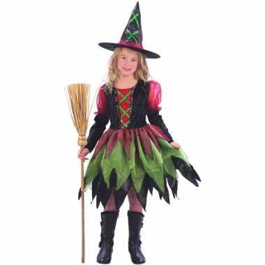 Rood groene heksencarnavalskleding meisjes