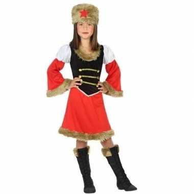 Rood/zwart kozakken carnavalskleding meisjes