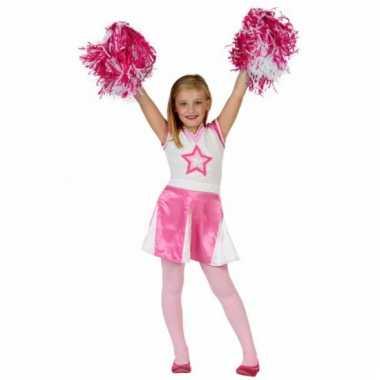 Roze cheerleader carnavalskleding meisjes