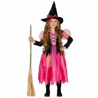 Roze heksen carnavalskleding heksenhoed meisjes