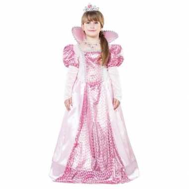 Roze koningin carnavalskleding kroon meisjes