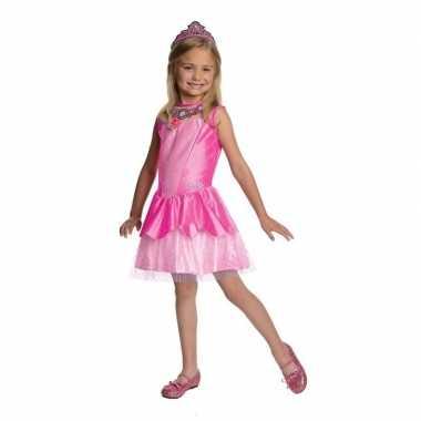 Roze prinsessen carnavalskleding tiara meisjes