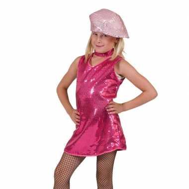 Roze show carnavalskleding pailletten meisjes