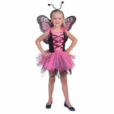 Roze vlinderfeeen carnavalskleding meisjes