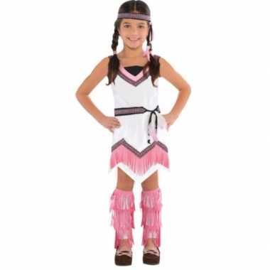 Roze wit indianen carnavalskleding meisjes