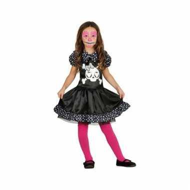 Skelet meisjes carnavalskleding zwart wit stippen