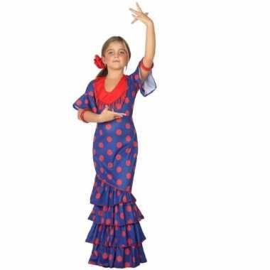 Spaanse carnavalskleding blauw rood meisjes