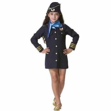 Stewardessen verkleed carnavalskleding pet sjaal meisjes