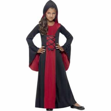 Vampier carnavalskleding rood/zwart meisjes