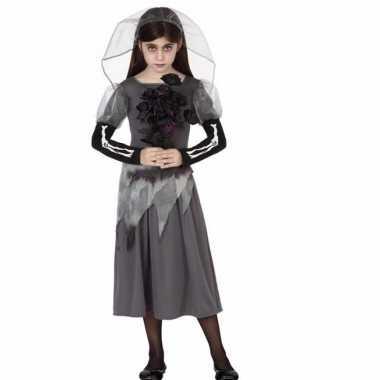 Zombie bruid meisjes carnavalskleding grijs