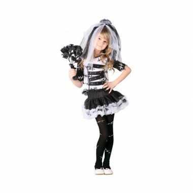 Zombie bruid meisjes carnavalskleding zwart wit