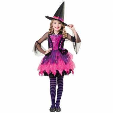 Zwart/paars/roze heksen carnavalskleding meisjes