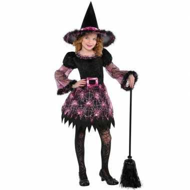 Zwart/roze heksen carnavalskleding meisjes