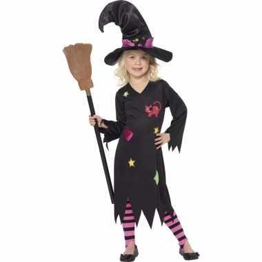 Zwart roze heksen carnavalskleding rosy meisjes